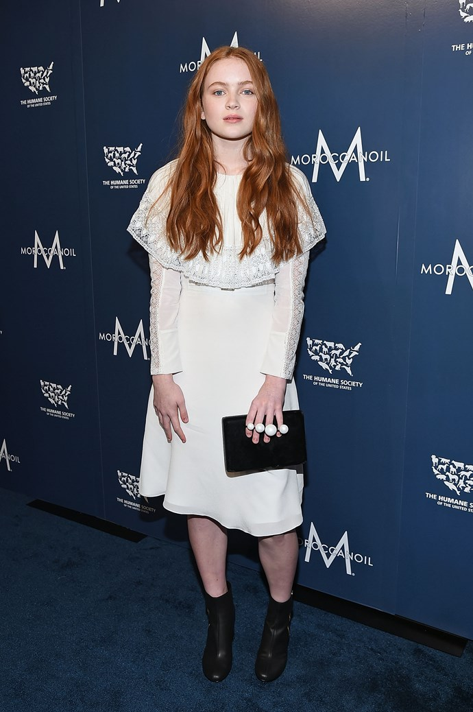 In a white frilled dress at a Humane Society Of The US benefit on November 10 in New York.  <br><br> *Image: Getty*