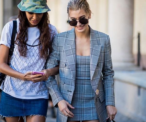 Joan Smalls and Hailey Baldwin at Milan Fashion Week S/S '18