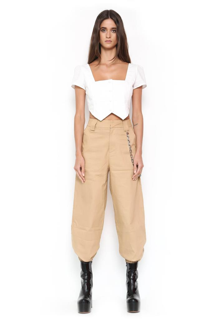 "Pants by I.Am.Gia, $109.95 at [I.Am.Gia](https://iamgia.com/collections/pants/products/cobain-cargo-tan|target=""_blank""