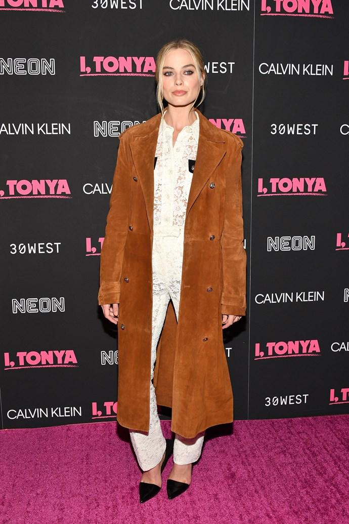 In Calvin Klein at a Calvin Klein screening of *I, Tonya* in New York.