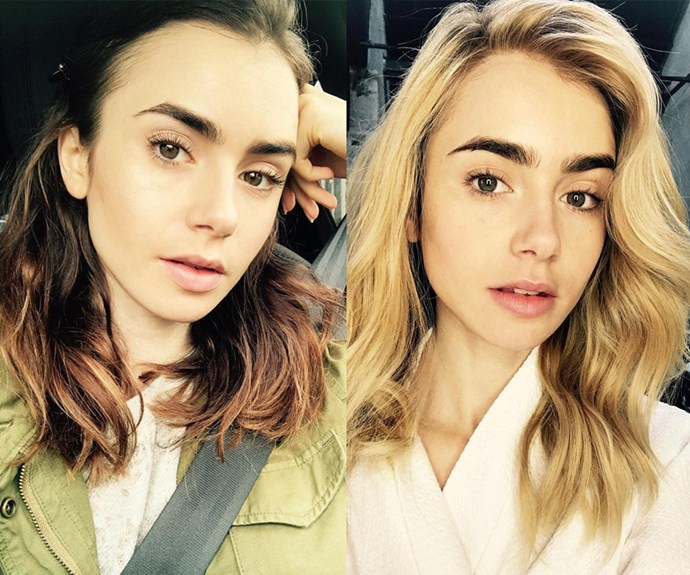 **Lily Collins**   Phil Collins' talented daughter has traded in her brunette locks for honey blonde, Victoria's Secret-esque waves. Fortunately, she has kept her signature dark eyebrows during the beauty shake-up.