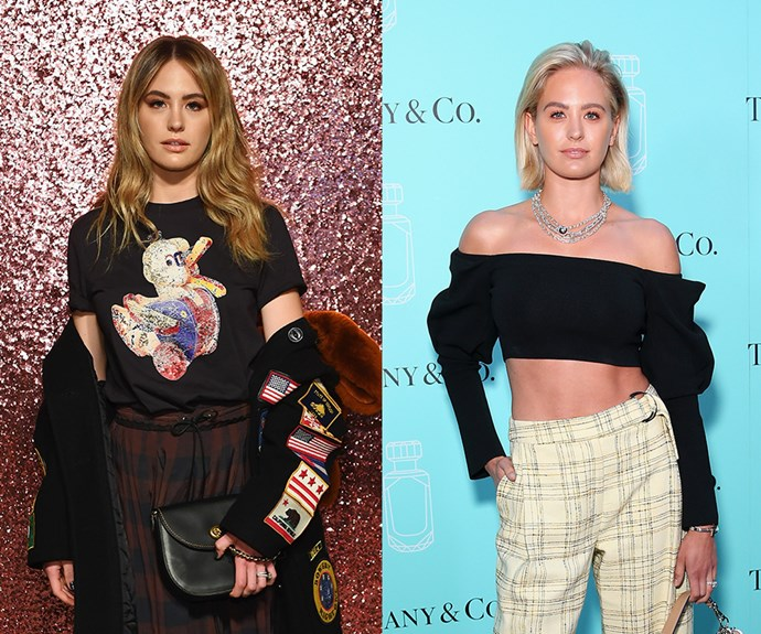 **Jesinta Franklin**   The Aussie local has ditched her shaggy lob and perfect curtain bangs for a pop of peroxide in an extremely on-trend bob. The social media star debuted her look on the *ELLE Australia* Instagram account before she attended the Tiffany & Co. fragrance launch in Sydney.