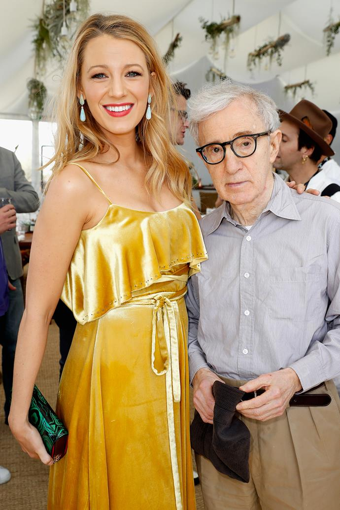 """**Blake Lively** <br><br> When Lively was promoting *Café Society*, her cinematic collaboration with Woody Allen, at the Cannes Film Festival in 2016, it was at the same time Ronan Farrow published his piece for *The Hollywood Reporter* called 'My Father, Woody Allen, and the Danger of Questions Unasked.' Lively was asked about the piece at the festival, but she said she didn't want to comment because she hadn't read the piece at the time. However, in a separate interview with [*Hamptons Magazine*](https://www.vanityfair.com/hollywood/2016/06/blake-lively-woody-allen target=""""_blank""""), Lively gushed about her experience of working with Allen, and called him """"very empowering."""""""