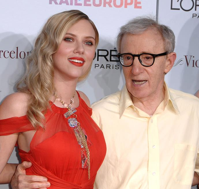 """**Scarlett Johansson** <br><br> Johansson has collaborated three times with Allen: in *Match Point* (2005), *Scoop* (2006) and *Vicky Cristina Barcelona* (2008). She was one of the people called out in Dylan Farrow's open letter accusing Allen of abusing her. On that, Johansson told *The Guardian* in 2014, """"I think it's irresponsible to take a bunch of actors that will have a Google alert on and to suddenly throw their name into a situation that none of us could possibly knowingly comment on. That just feels irresponsible to me."""" As to whether the allegations had impacted her relationship with him: """"I don't know anything about it. It would be ridiculous for me to make any kind of assumption one way or the other."""""""