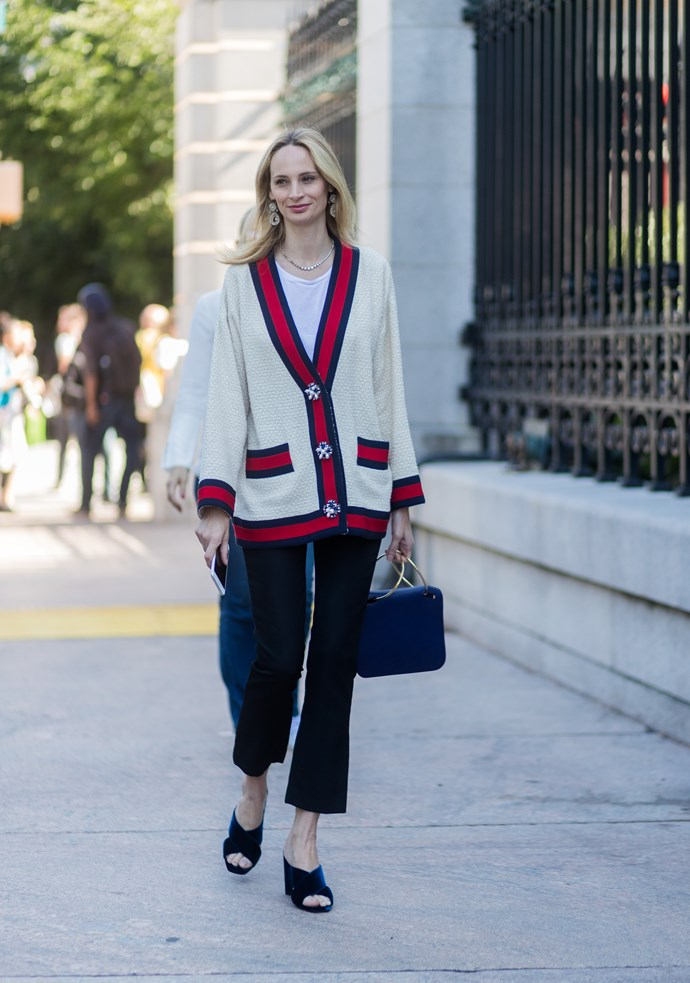 Lauren Santo Domingo in Gucci outside Tory Burch spring summer '18.