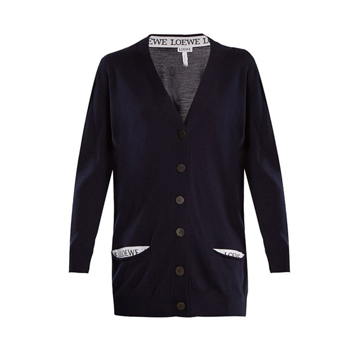 "Cardigan by Loewe, $1,390 at [MATCHESFASHION.COM](https://www.matchesfashion.com/au/products/Loewe-V-neck-wool-blend-cardigan-1188596|target=""_blank""