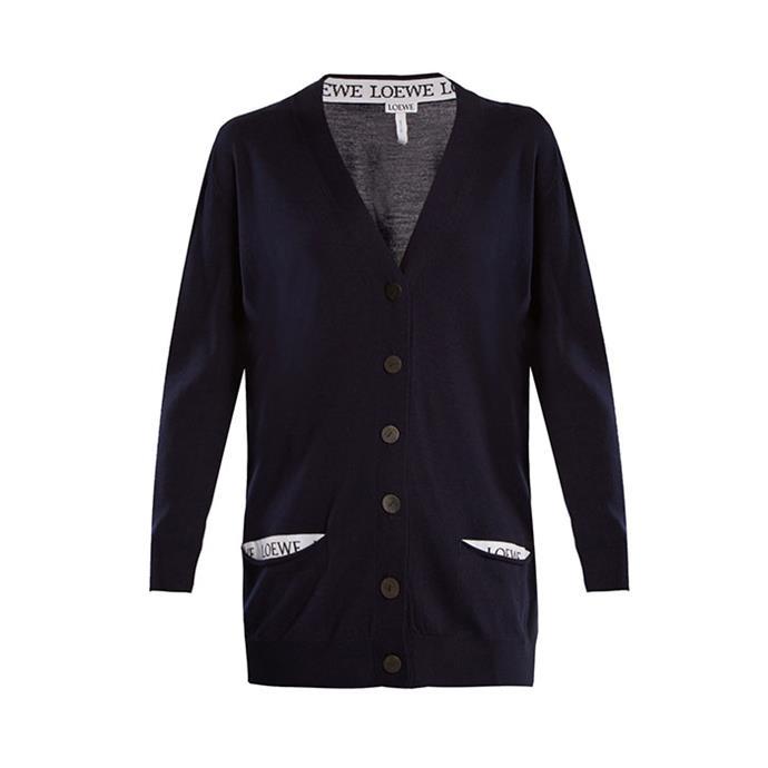"Cardigan by Loewe, $1,390 at [MATCHESFASHION.COM](https://www.matchesfashion.com/au/products/Loewe-V-neck-wool-blend-cardigan-1188596|target=""_blank""|rel=""nofollow"")"