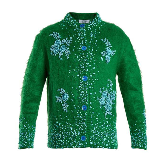 "Cardigan by Prada, $4,915 at [MATCHESFASHION.COM](https://www.matchesfashion.com/au/products/Prada-Embellished-oversized-mohair-blend-cardigan--1172895|target=""_blank""|rel=""nofollow"")"