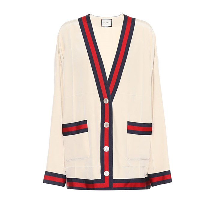 "Cardigan by Gucci, $1,745 at [Mytheresa.com](https://www.mytheresa.com/en-au/gucci-silk-crepe-cardigan-896374.html|target=""_blank""