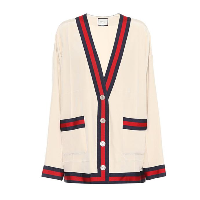 "Cardigan by Gucci, $1,745 at [Mytheresa.com](https://www.mytheresa.com/en-au/gucci-silk-crepe-cardigan-896374.html|target=""_blank""|rel=""nofollow"")"