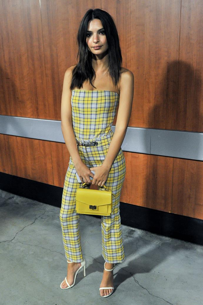 Emily Ratajkowski stepped out to watch the Lakers play in L.A. wearing a strapless two-piece ensemble in a very Cher-esque yellow plaid.