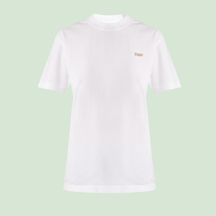 "T-Shirt, $229, [Vetements at matchesfashion.com](https://www.matchesfashion.com/products/Vetements-X-Hanes-Staff-cotton-T-shirt-1163375|target=""_blank""