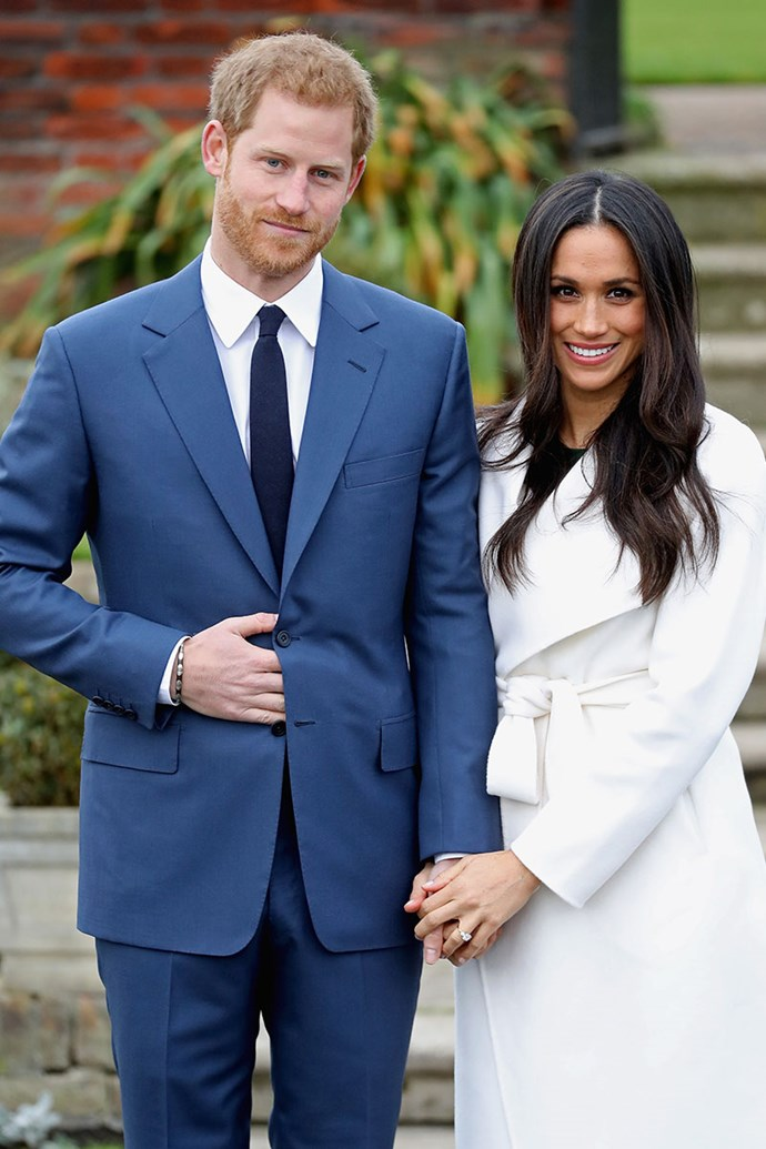 """**Prince Harry and Meghan Markle** <br><br> Engaged: Announced 27th November, 2017 <br><br> After dating for over a year, Kensington Palace confirmed that Prince Harry had proposed to *Suits* actress, Meghan Markle in London this November.  <br><br> In their official interview, Meghan said that Harry proposed over a roast chicken dinner in his home. """"Just a cosy night, it was—what we were doing, just roasting chicken,"""" she said. """"It was just an amazing surprise. It was so sweet, and natural and very romantic. He got down on one knee."""" <br><br> Meghan's engagement ring features a main diamond that was sourced from Botswana (a place that is sentimental to them) and two smaller diamonds either side from his late-mother Princess Diana's jewellery collection."""