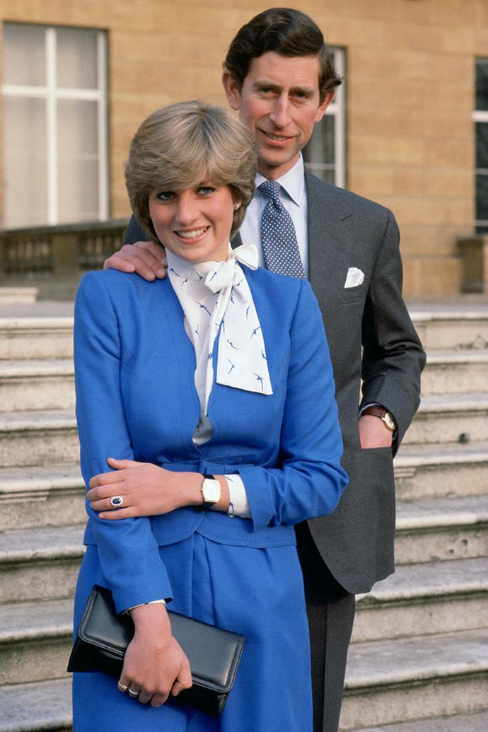**Prince Charles and Princess Diana** <br><br> Engaged: February 24, 1981; Windsor Castle <br><br> Diana and Charles first met when Charles was dating Diana's older sister, Lady Sarah.  In January 1981, Charles went on a ski trip to Switzerland, and called Diana from his resort to tell her that after his return there would be something important that he must ask her.  <br><br> Charles asked Diana to come to Windsor Castle on February 6, where he told her how much he missed her and that she should marry him. At first Diana was reportedly embarrassed and broke into laughter, whereby Charles repeated how serious the issue was to him, as she would become the Queen of England one day. After making a good impression on Charles's family, Diana considered his proposal for a week and later accepted.  <br><br> The couple got married in 1981 and approximately 750 million people watched internationally.  Diana's engagement ring featured a 12-carat oval sapphire, which was surrounded by 14 diamonds and set in white gold.