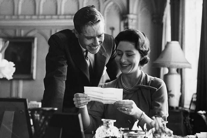 **Princess Margaret and Antony Armstrong-Jones** <br><br> Engaged: February 26, 1960; Windsor Castle <br><br> After keeping their relationship a secret for two years, Princess Margaret and Antony Armstrong-Jones announced their engagement at a dinner party in 1960. Armstrong-Jones was a photographer, who later became the Earl of Snowdon.  <br><br> The princess received a ruby engagement ring that was designed by her future husband to look like a rosebud—it's believed that Margaret's middle name was Rose.  <br><br> The couple wed at Westminster Abbey in the first televised royal wedding in history, with over 300 million people tuning in to watch the celebrations. They divorced in 1978 and have two children together: Lady Sarah Chatto, and David Armstrong-Jones, the 2nd Earl of Snowdon.