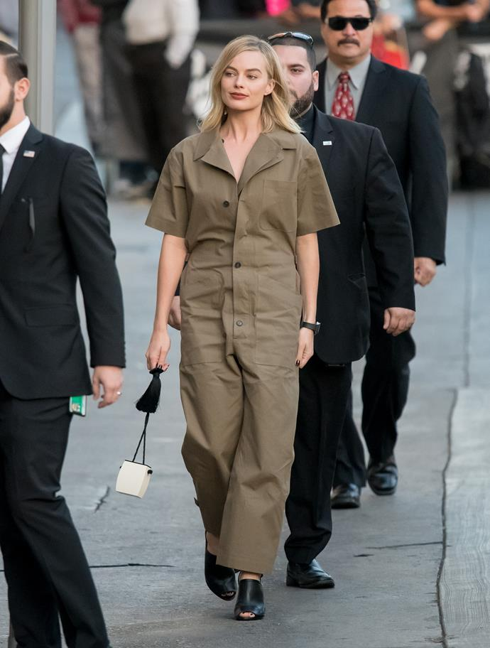 In Dior while visiting the *Jimmy Kimmel Live!* show.