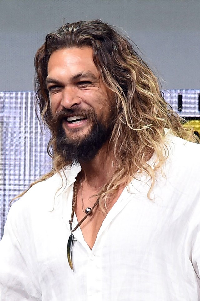 """**Jason Momoa** <br><br> Please take a moment to appreciate [Jason's effortless tousled waves and perfect balayage](https://www.cosmopolitan.com.au/beauty/jason-momoa-hair-tips-23347