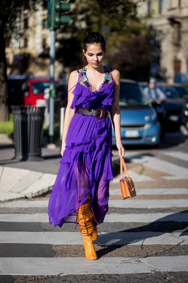 **1. With A Block Colour Maxi Dress**