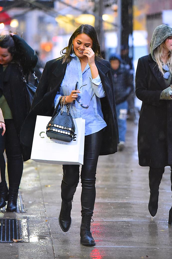 **Second pregnancy:** <br><br> In The Row pants and boots while out in New York City, 2017,