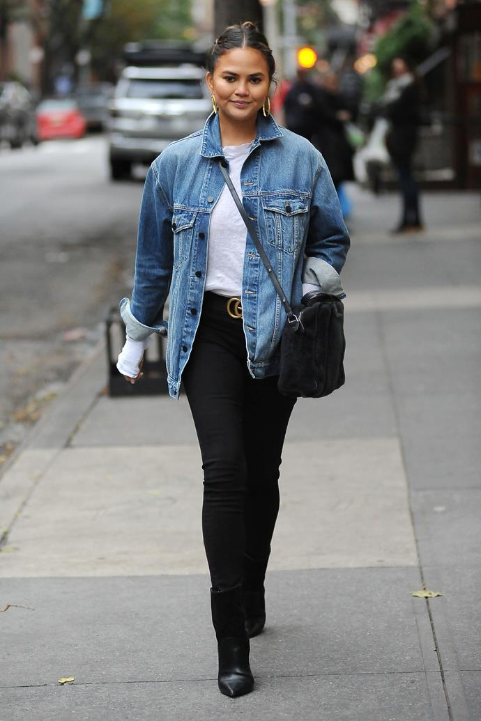 **Second pregnancy:** <br><br> In a Gucci belt while out in New York City, 2017.
