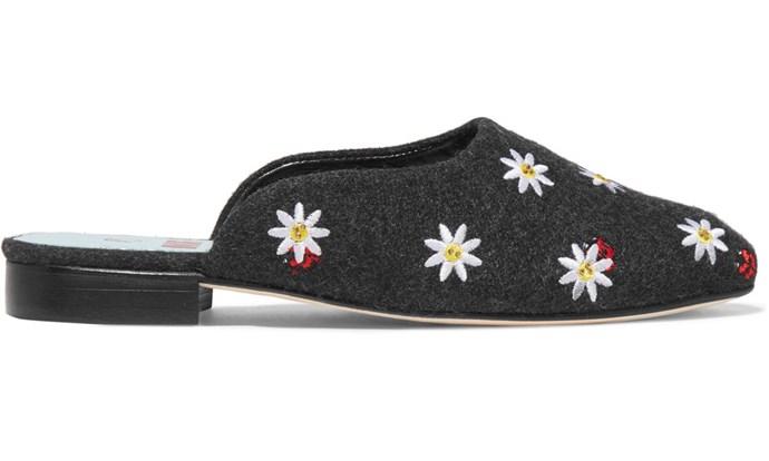 "Flats, $361, MR by Man Repeller at [Net-A-Porter](https://www.net-a-porter.com/au/en/product/1004223/mr_by_man_repeller/crystal-embellished-embroidered-felt-slippers|target=""_blank"")"