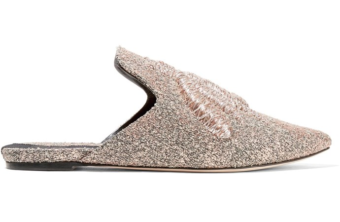 "Flats, $1,610, Sanayi 313 at [Net-A-Porter](https://www.net-a-porter.com/au/en/product/919288/Sanayi_313/ragno-embroidered-metallic-woven-slippers|target=""_blank"")"