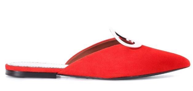 "Flats, $665, Proenza Schouler at [MyTheresa](https://www.mytheresa.com/en-au/proenza-schouler-suede-slippers-899726.html?catref=category|target=""_blank"")"