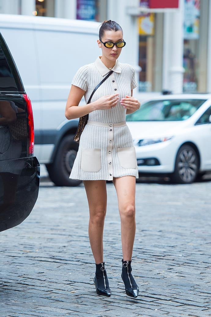"""**LIBRA (SEPTEMBER 23-OCTOBER 22): *Bella Hadid*** <br><br> While Aries, Leo and Gemini love to wear outfits that shock, Libra's are known for pretty much being on another planet of thought - conventionality pretty much goes out the window. You'll find it more difficult getting rational thought out of a Libra, but you'll have even more trouble trying to replicate their [groundbreaking and creative sartorial choices](https://www.elle.com.au/fashion/new-years-eve-outfit-ideas-15318 target=""""_blank"""").  <br><br> And, think about it: Libra [Bella Hadid](https://www.elle.com.au/fashion/bella-hadid-style-file-10715 target=""""_blank"""")'s wardrobe consists of looks that pretty much only she could pull off. If you're anyone else that wants to try, then good luck - but dreamy, elated Libras have a pretty significant headstart on everyone else.  <br><br> **Brand to shop**: [*Off-White*](https://www.mytheresa.com/en-au/designers/off-white.html?gclid=EAIaIQobChMI8Ke16MqD2AIVjwcqCh1YugvVEAAYAiAAEgI9VvD_BwE target=""""_blank"""" rel=""""nofollow"""")"""