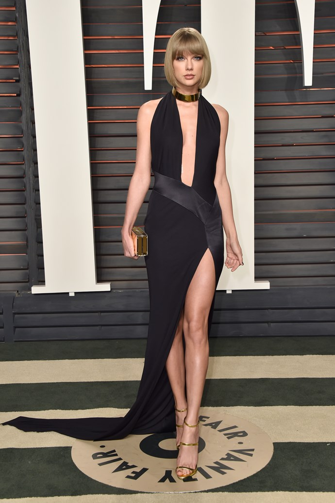 """***EMBRACE A RACY LEG SPLIT*** <br><br> If you're super tall, chances are you've got a great set of legs. Embrace them! A killer leg split in a dress or skirt is a great way to show off your best asset. <br><br> 5'10"""" Taylor Swift gets it."""
