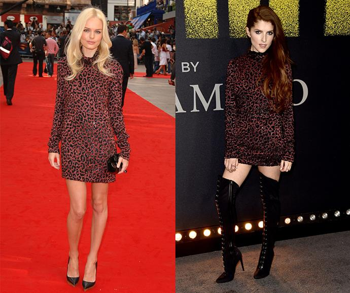 **Kate Bosworth and Anna Kendrick** <br><br> In 2017, Anna Kendrick stepped out at the premiere of *Pitch Perfect 3* wearing a glittering mini-dress from Gucci's autumn/winter 2006 collection, which was also worn by Kate Bosworth to the premiere of *Superman Returns* in 2006.