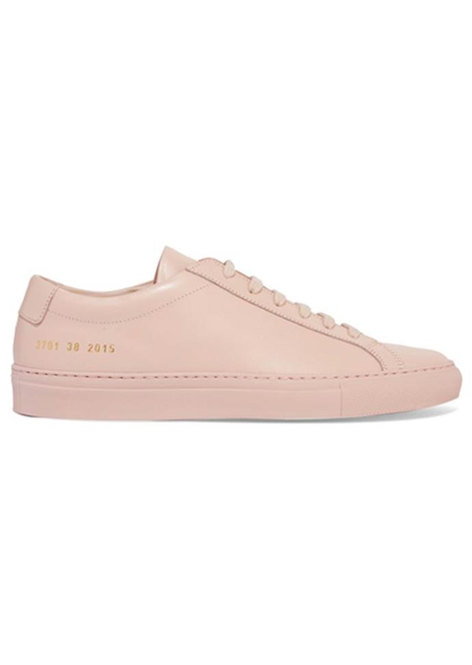 "Sneakers, $383, Common Projects at [Net-A-Porter](https://www.net-a-porter.com/au/en/product/950902/common_projects/original-achilles-leather-sneakers|target=""_blank""