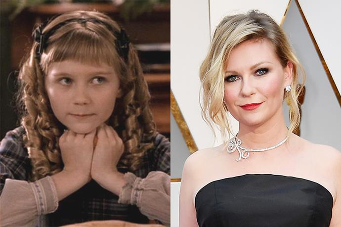 **Who:** Young Amy March, the youngest and cheekiest March sister who dreams of romance and falling in love. <br><br> **Played by:** Kirsten Dunst. <br><br> **Where is she now?** Dunst played Amy as a 12 year old for the first half of the movie. Since *Little Women*, Dunst has gone on to star in a mix of blockbusters (*Spider-Man*), indie films (*Elizabethtown*) and pretty much everything in between, frequently collaborating with Sofia Coppola. In real life, Dunst is engaged to her *Fargo* co-star Jesse Plemons, and they are reportedly expecting their first child together.