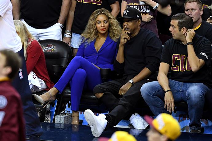 That time Beyoncé wore a full blue suit to the basketball.