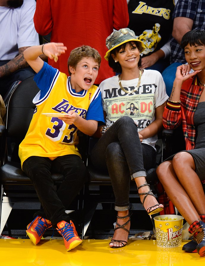 That time Rihanna wore a camo hat and heels to the basketball.