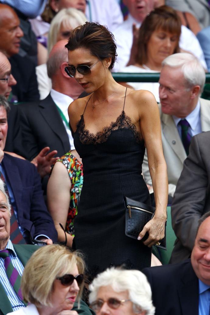 That time Victoria Beckham wore a sexy Louis Vuitton slip dress to Wimbledon.