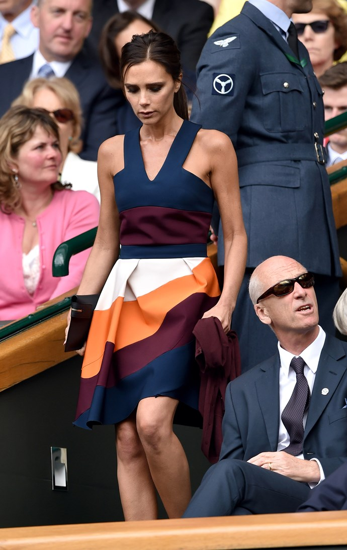 That time Victoria Beckham wore a colour-blocked dress of her own design at Wimbledon.