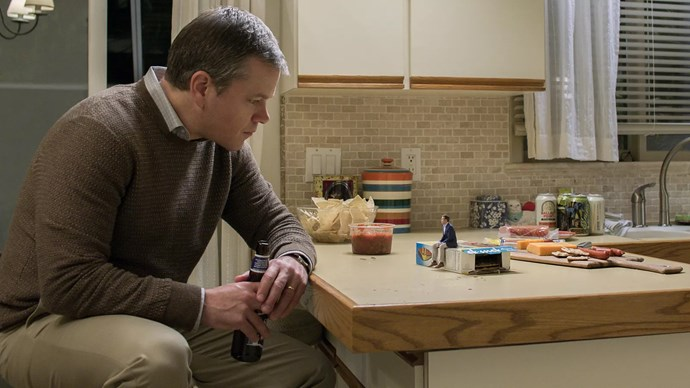 "***Downsizing*** <br><br> **Release date:** December 26 <br><br> **Synopsis:** It's a sci-fi comedy-drama about a couple (Matt Damon and Kristen Wiig) who decide to literally shrink themselves to join a growing community of people who have ""downsized,"" which has been created as a solution to fight overpopulation. <br><br> **Watch if:** You enjoy weird and quirky concepts executed with performances by major stars. It's got similar vibes to films like *The Truman Show* and *Pleasantville*, and writer/director Alexander Payne is the man behind *Sideways* and *The Descendants*."