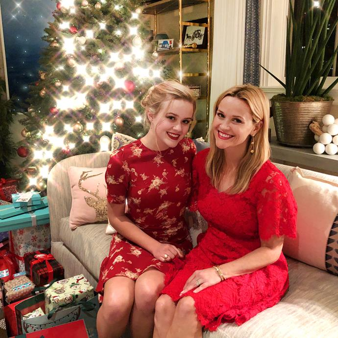 **Reese Witherspoon and Ava Phillipe** <br><br> The mother-daughter duo celebrated Christmas in style, whilst managing to look near-identical.