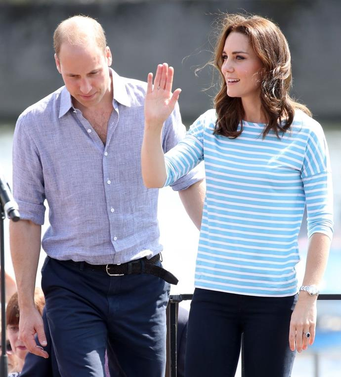 **$162** On July 20, Kate attended a Rowing race in Heidelberg in a Breton top from Hugo Boss and skinny jeans.