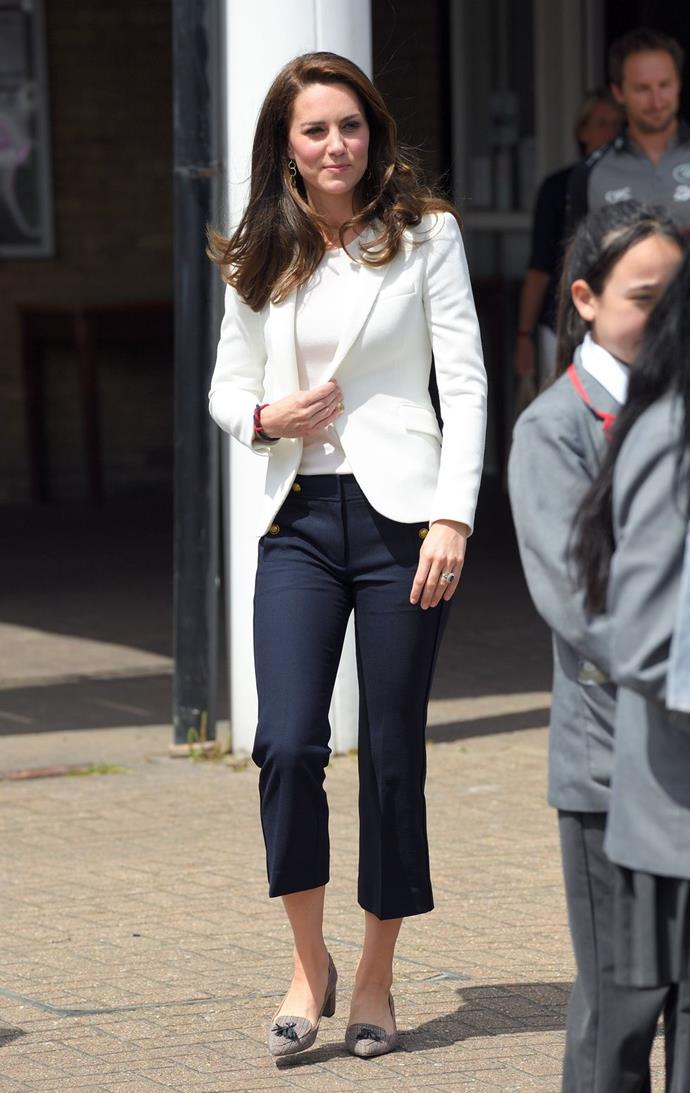 **$177** On June 16, Kate attended the Land Rover BAR Roadshow at the Docklands Sailing and Watersports Centre in a new pair of J Crew trousers.