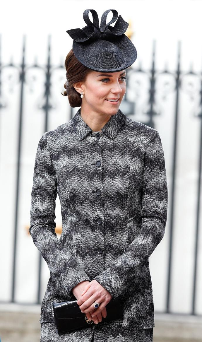 **$476** On April 6, Kate attended the Service of Hope wearing a Missoni coat and Sylvia Fletcher for Lock & Co. hat she already owned and a new Beulah London x Aspinal of London bag.