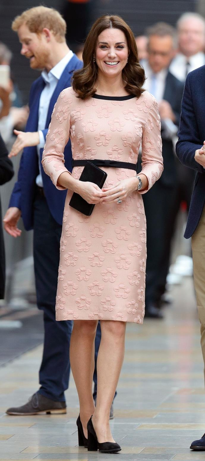 **$601** On October 16, Kate met with the cast and crew of the film *Paddington 2* in an Orla Kiely dress.