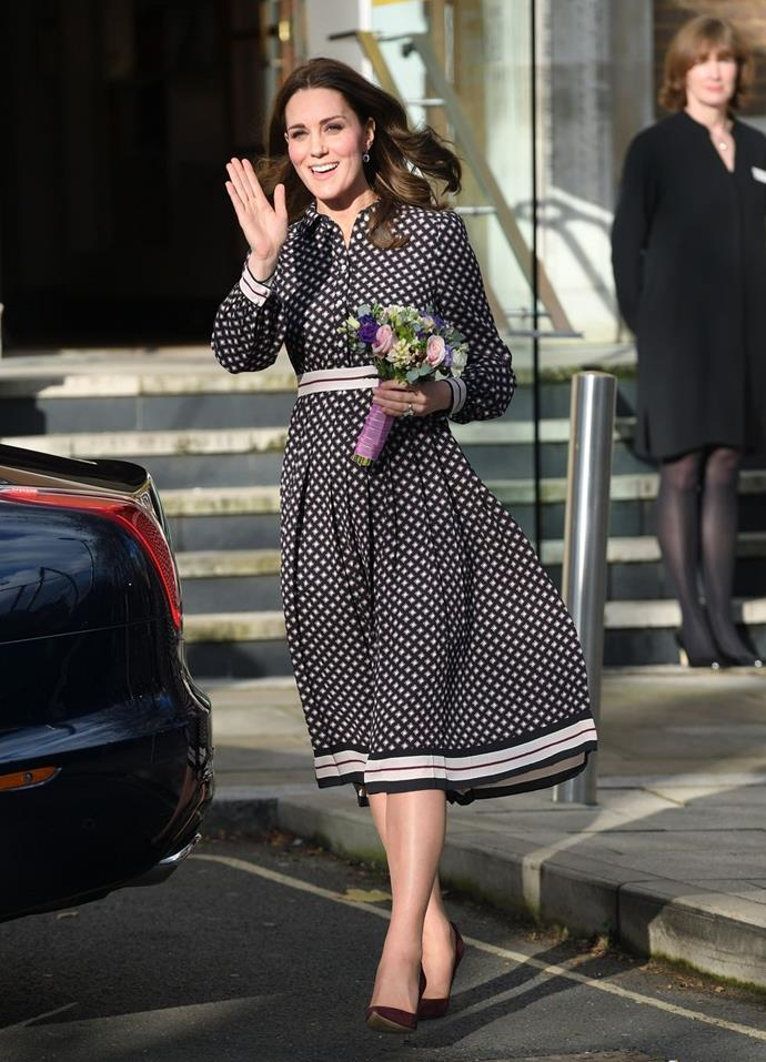 **$607** On November 28, Kate arrived at the Foundling Museum in London wearing a Kate Spade dress.