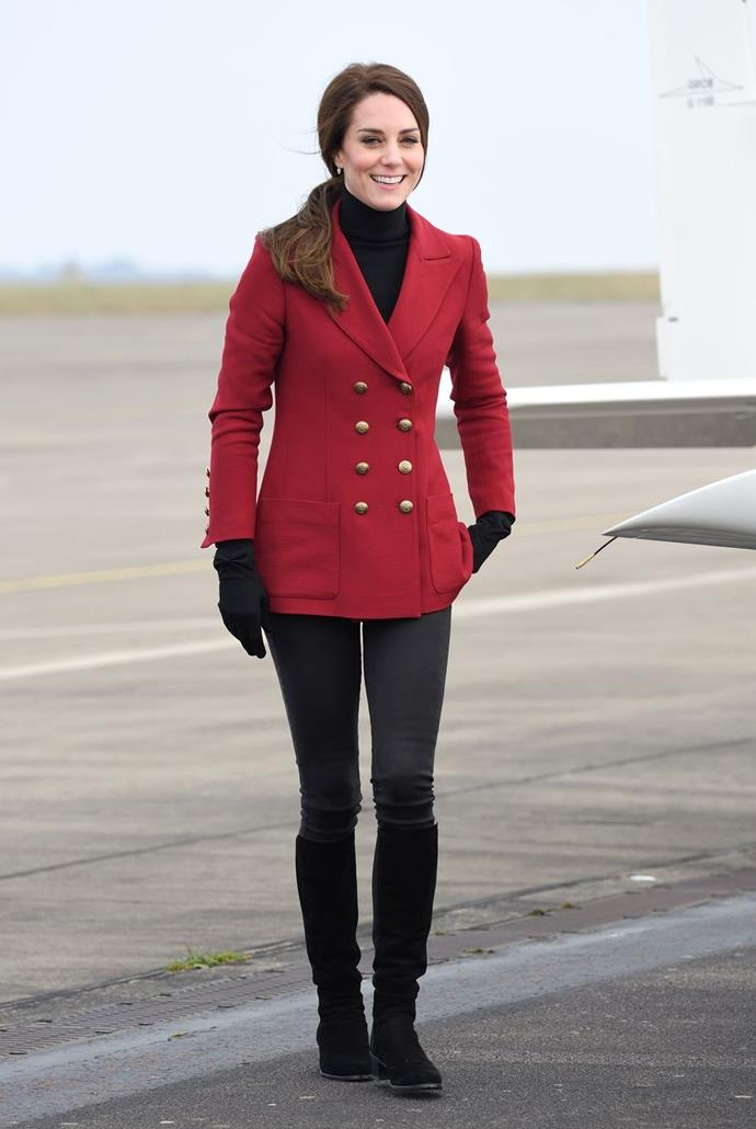 **$1,319** On February 16, Kate visited with air cadets wearing s new Philosophy di Lorenzo Serafini blazer.