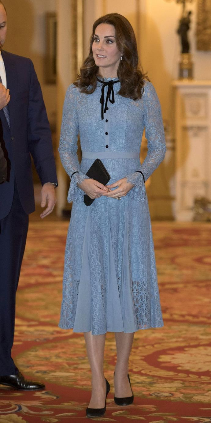 **$1,377** On October 10, Kate attended a Mental Health Day reception at Buckingham Palace in a powder blue Temperley London.