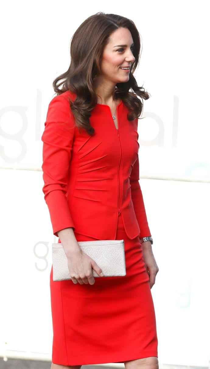 **$1,1549** On April 20, Kate visited the new Global Academy school in west London wearing an amazing red Armani suit.