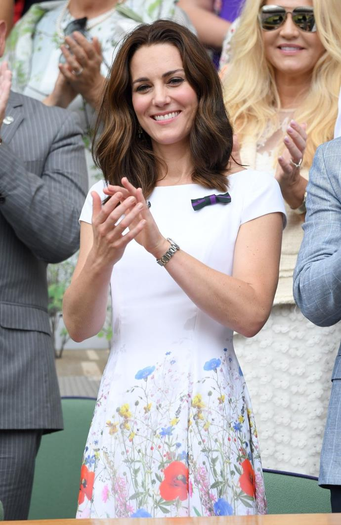 **$1,730** On July 16, Kate attended Wimbledon in a Catherine Walker dress.