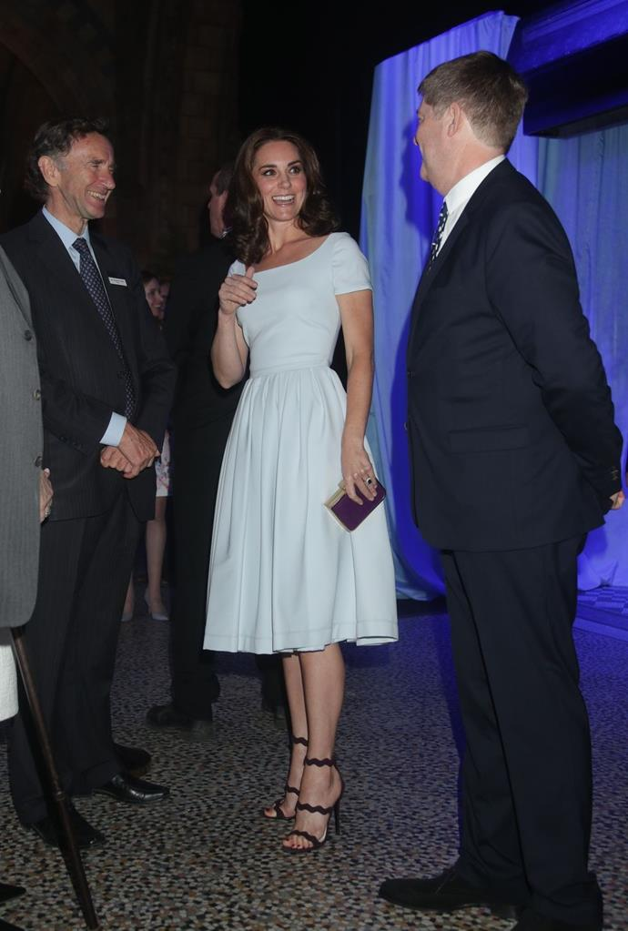 **$1,862** On July 13, Kate appeared at the Natural History Museum in a powder blue preen dress.