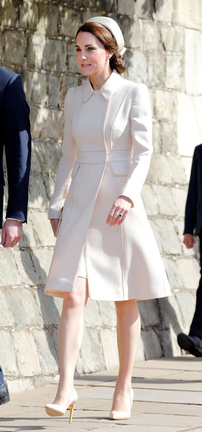 **$1,877** On April 16, Kate attended Easter Sunday service in a custom-made cream Catherine Walker coat that she already owned. She added a Lock and Co, hat and Etui Bag.