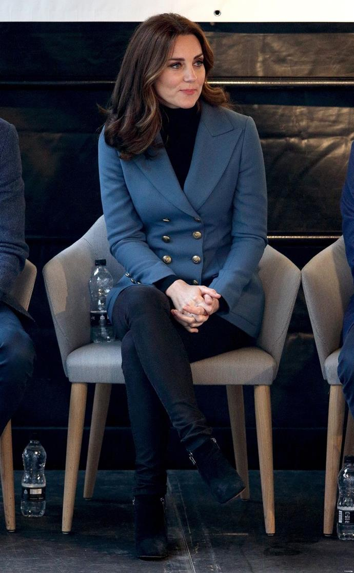 **$2,017** On October 18, Kate appeared at London Stadium in a Philosophy Di Lorenzo Serafini blazer and Russell and Bromley boots.